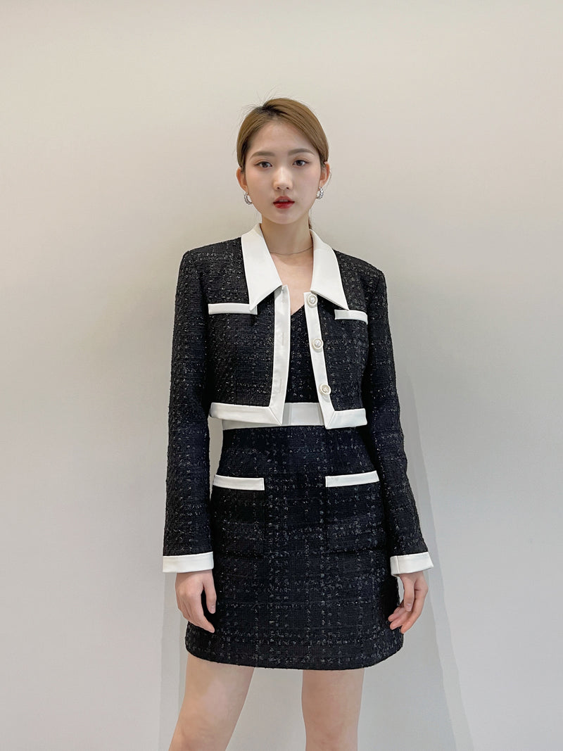 Color block fragrant tweed short coat