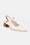 Imitation Pearl Band Python-Embossed Leather Pumps