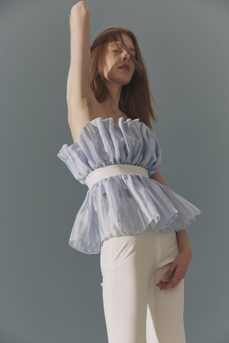 Belted Strapless Organza Top