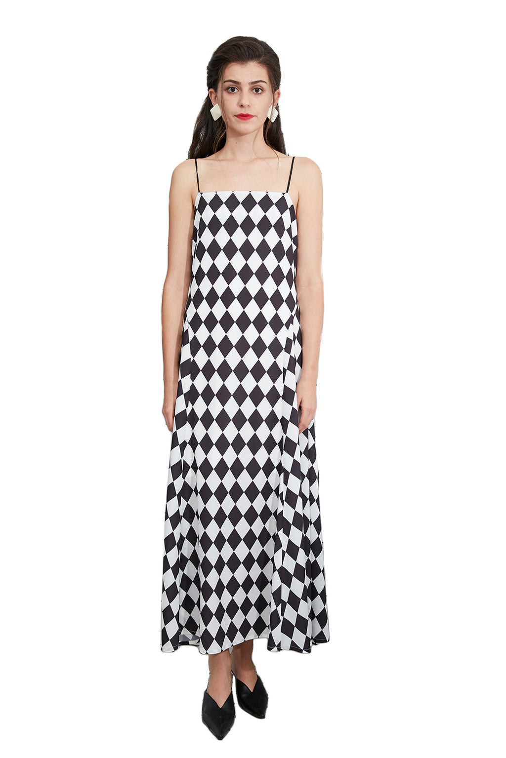 Black-And-White Diamond-Pattern Dress