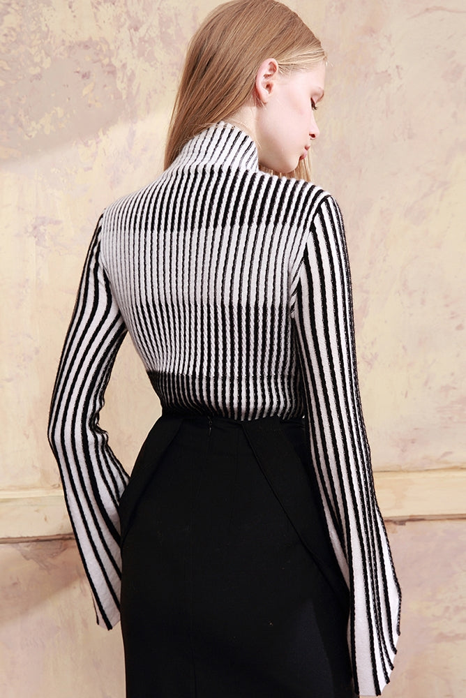 CHAU RISING high collar striped pullover