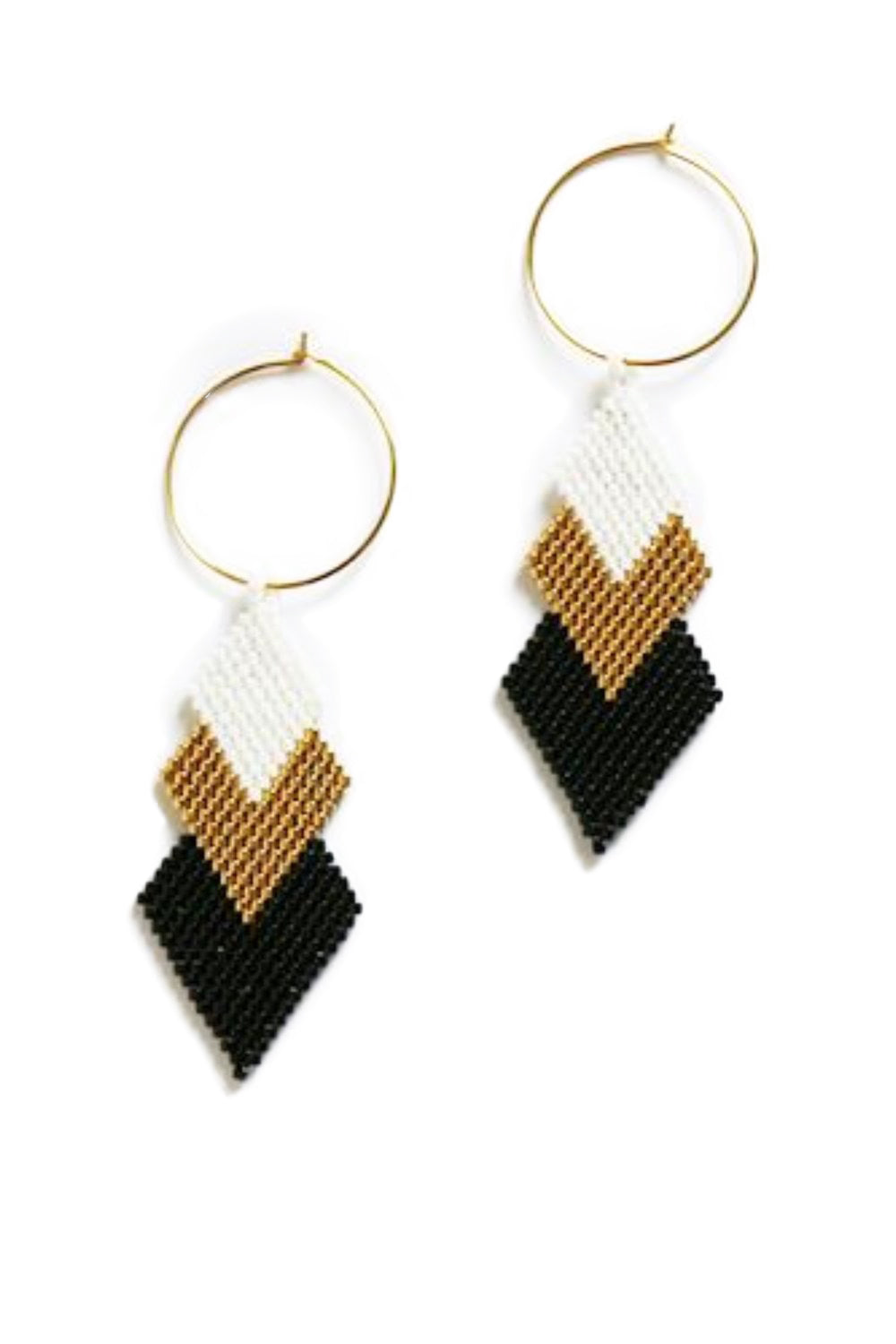 White & Gold & Black Earrings