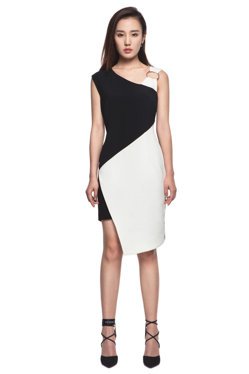 Asymmetric Black And White Dress