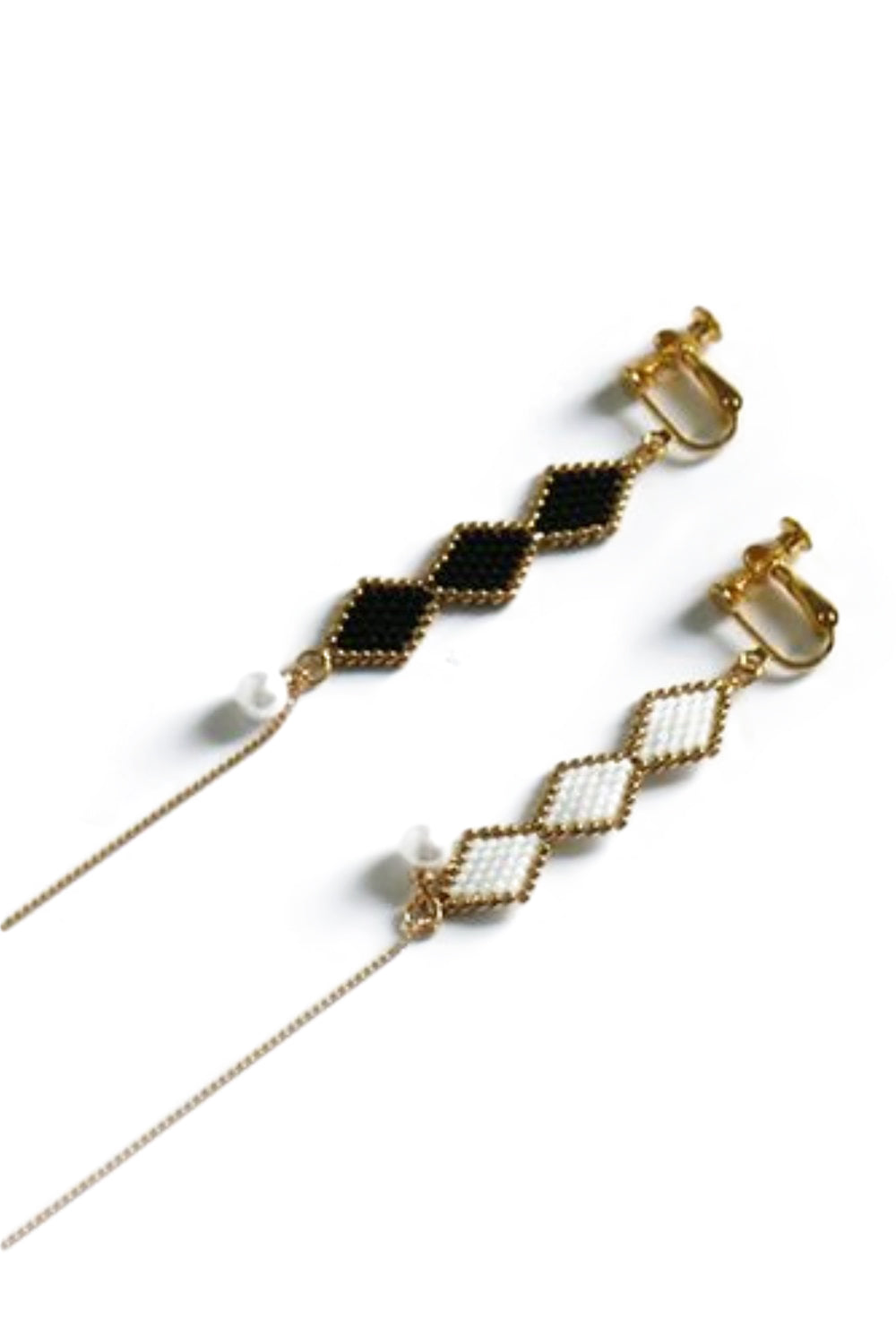 Asymmetrical Black & White Earrings