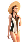 Black-And-White Stitching Swimsuit