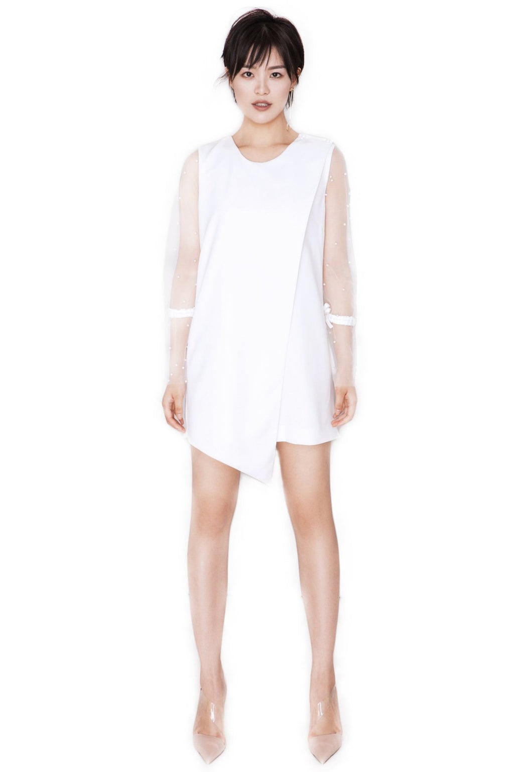 FEVER WANG white pearl-voile dress