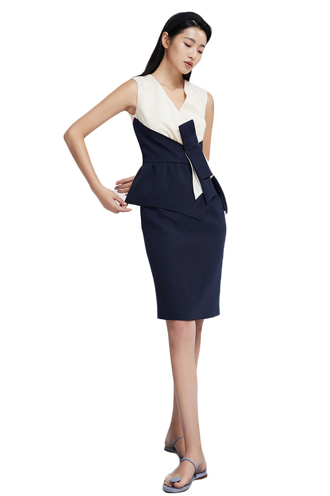 Navy Blue And White Knot Design Dress