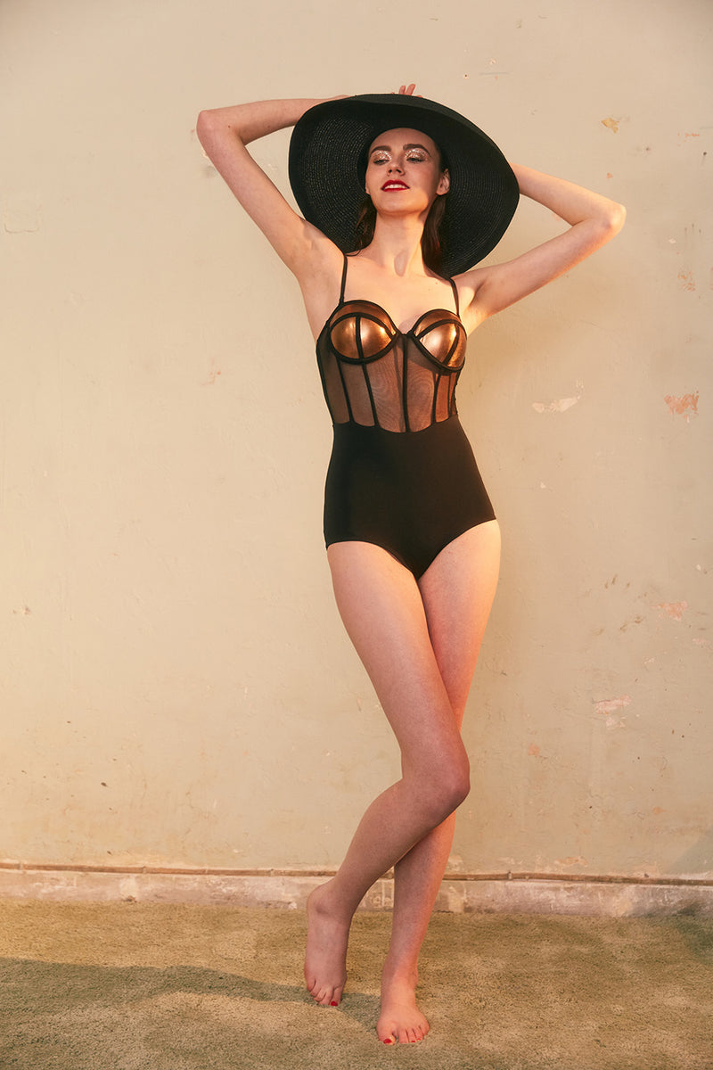 Bronze Black Paneled Swimsuit