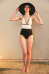 Black-And-White High-Waist Swimsuit
