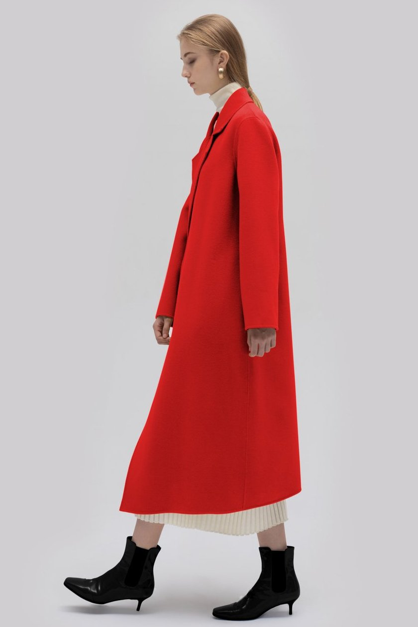 YUEL XIANG D-button asymmetrical coat