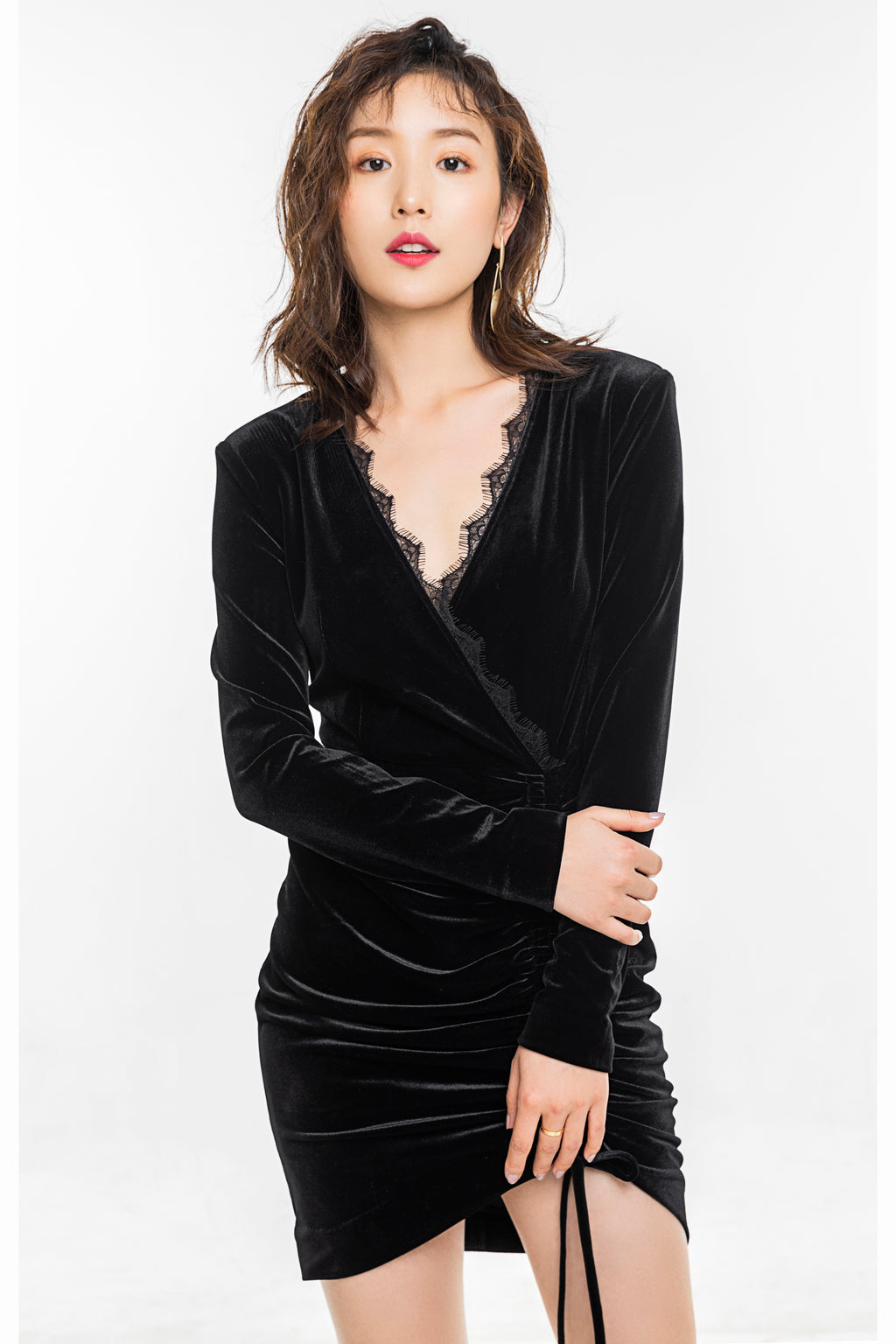 Black Velvet Hem Drawstring Dress