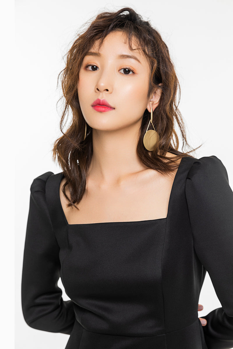Black Square Collar Black Dress