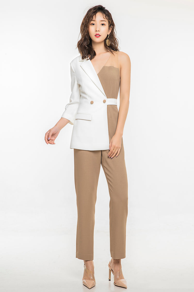White Blazer-Collar Jumpsuit