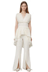 Slit flared pants-White