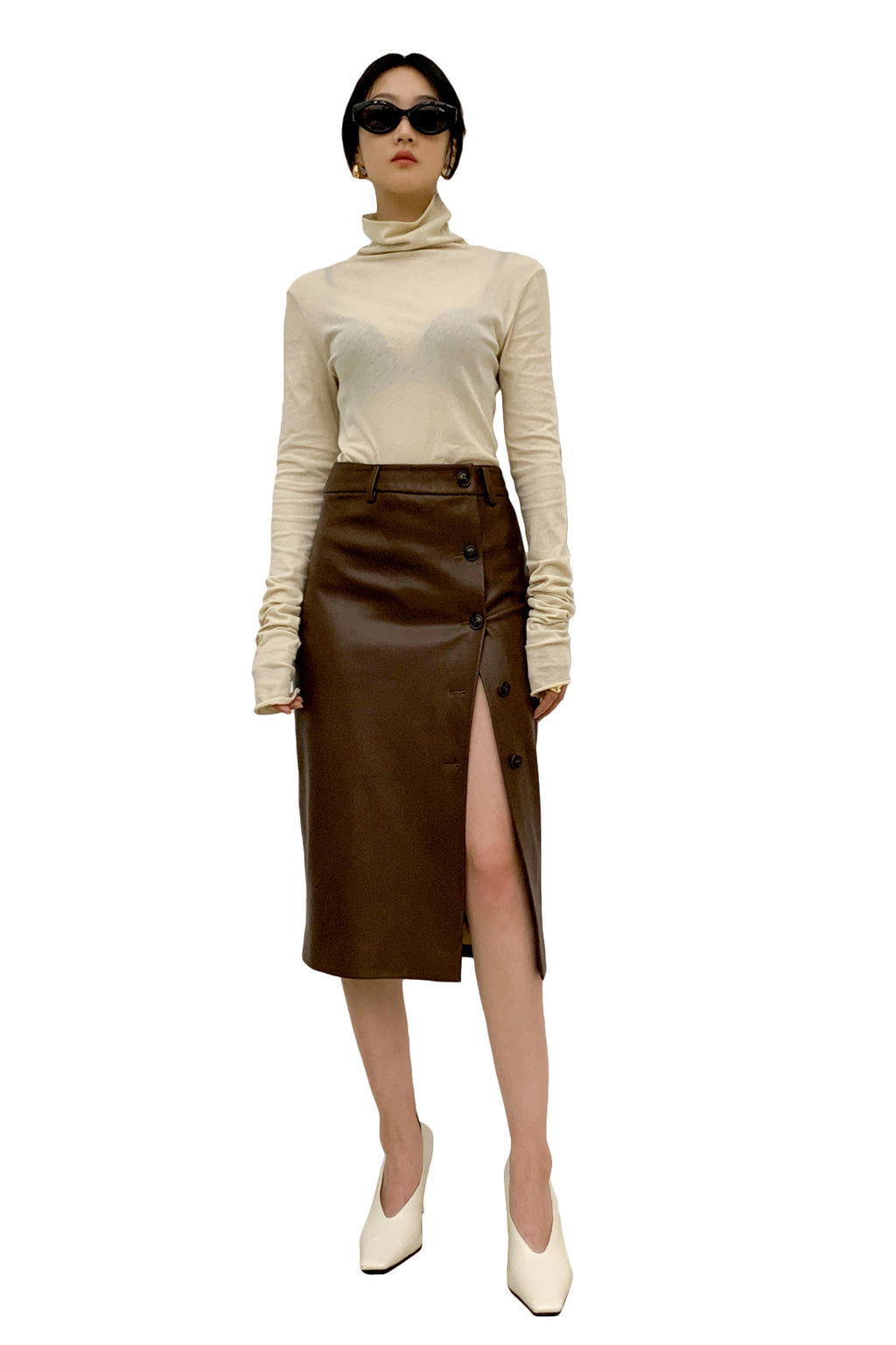 Side Buckle Middy Skirt - Brown
