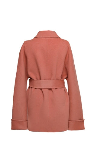 YUEL XIANG coral short wrap coat