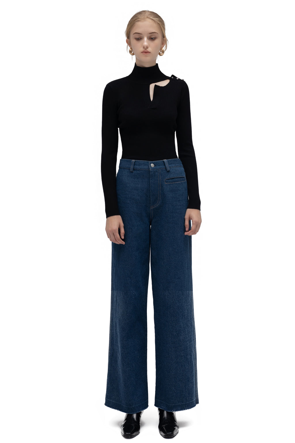 YUEL XIANG wide leg denim trousers