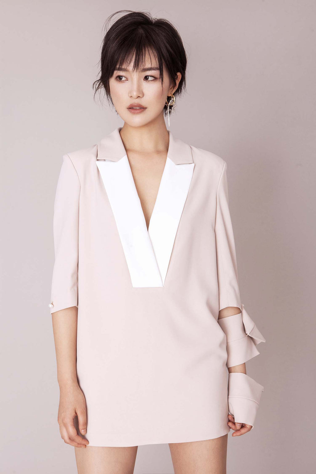 Fever Wang white collar nude dress