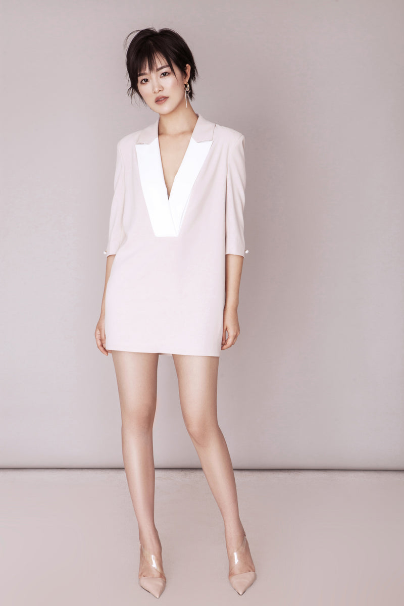 White Collar Nude Dress