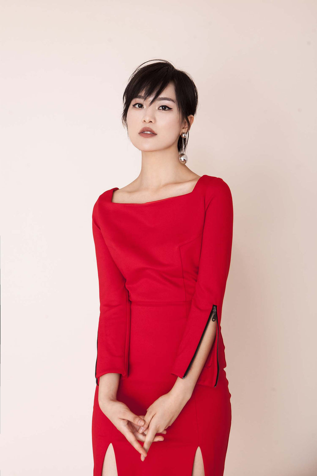 FEVER WANG red zipper-cuffs dress