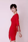 Red Zipper-Cuffs Dress