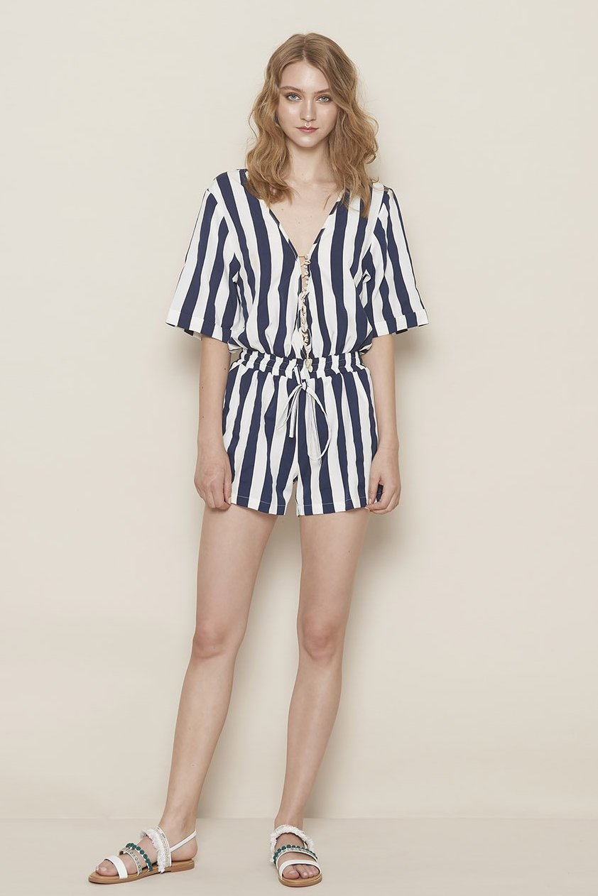 KIKI CHAU koey striped jumpsuit