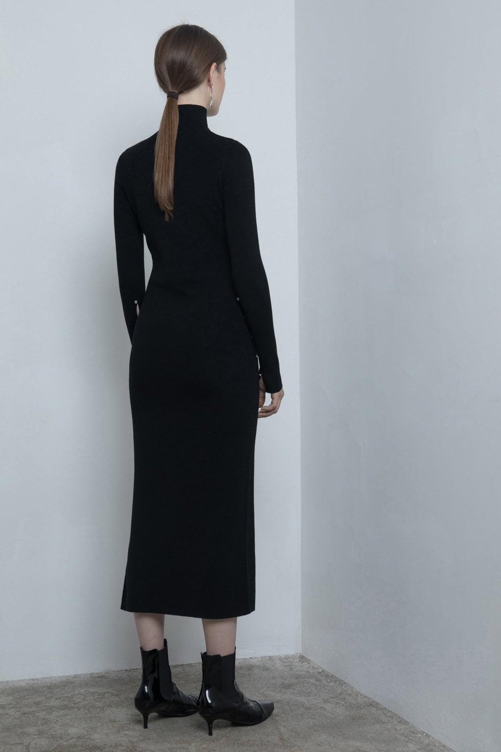 YUEL XIANG high neck split knit dress
