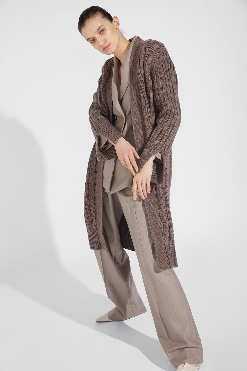 Hemp Pattern Long Cardigan - Khaki