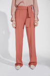 Wide Belt Straight Long Trousers - Pink