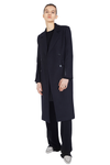 Button Sleeve Notched Lapel Double-Breasted Wool Trench Coat - Black