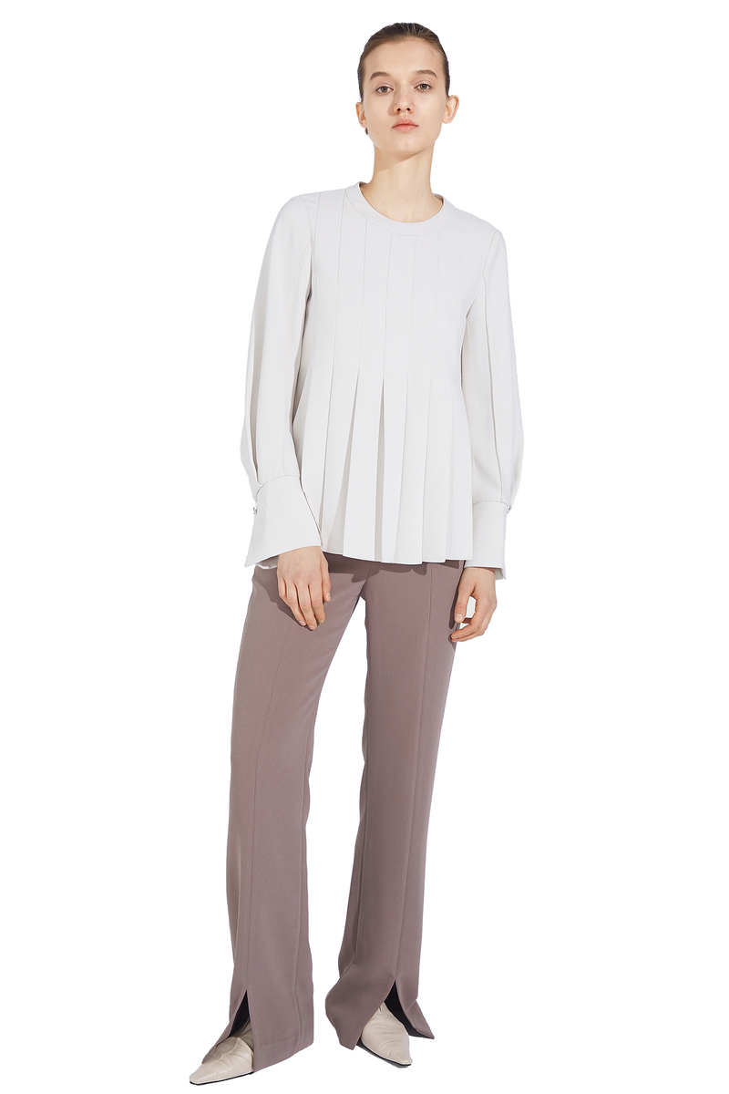 Front Slit Slim Trousers - Nude