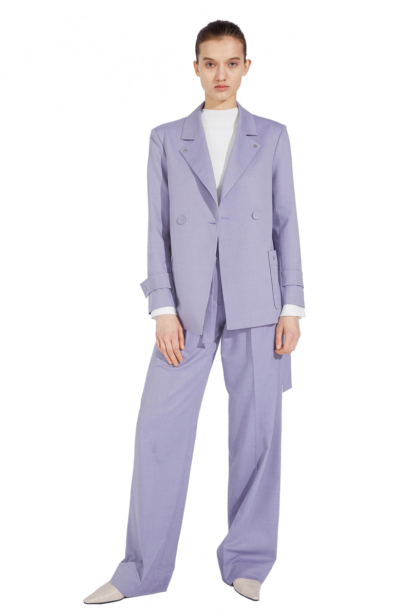 Belted Double Patch Pocket Blazer - Purple