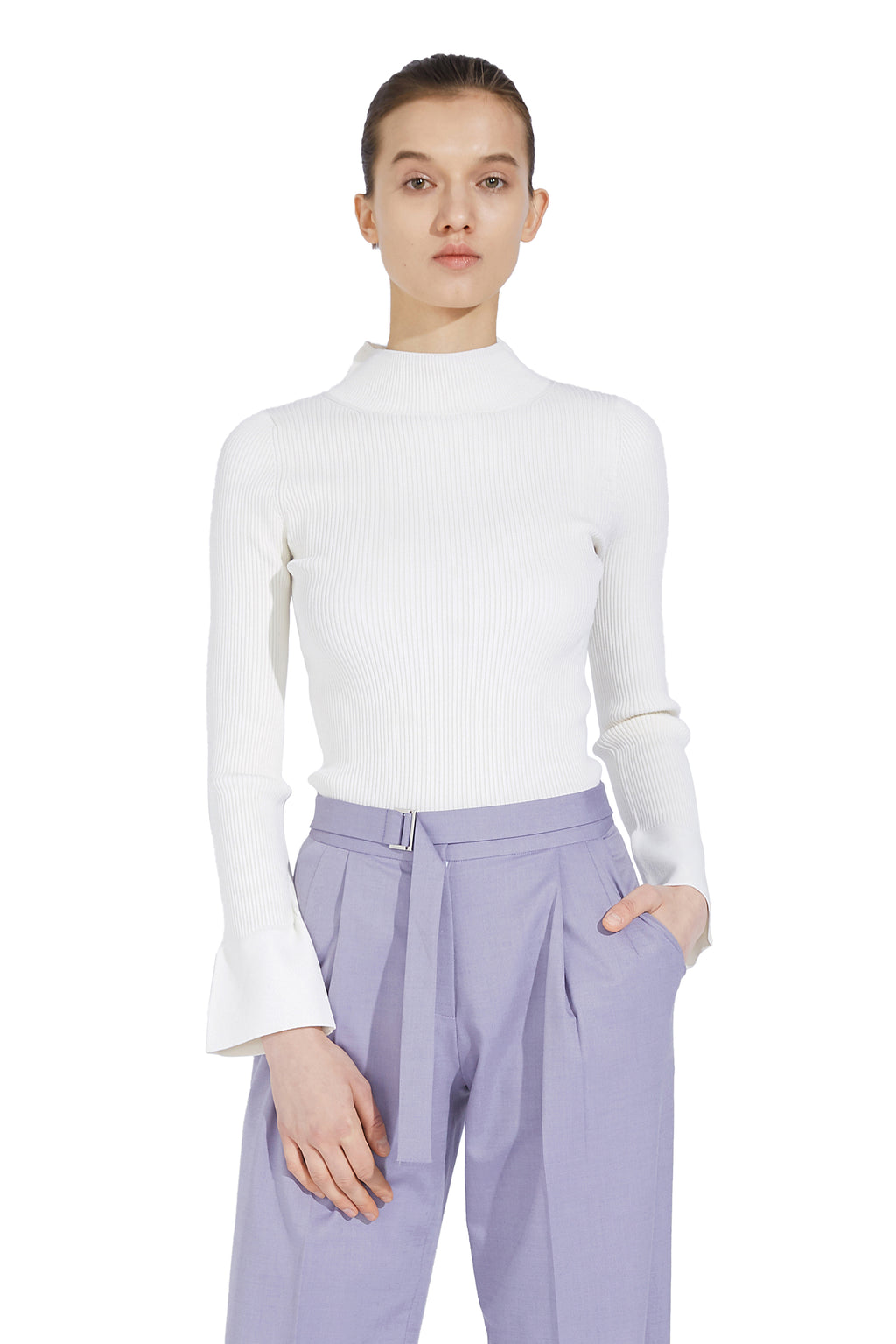 Flared Sleeve Half-Neck Sweater