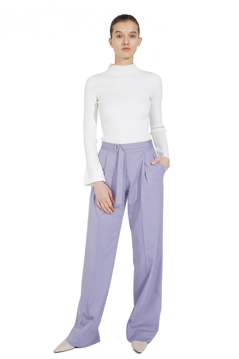Thin Waistband Straight Trousers - Purple