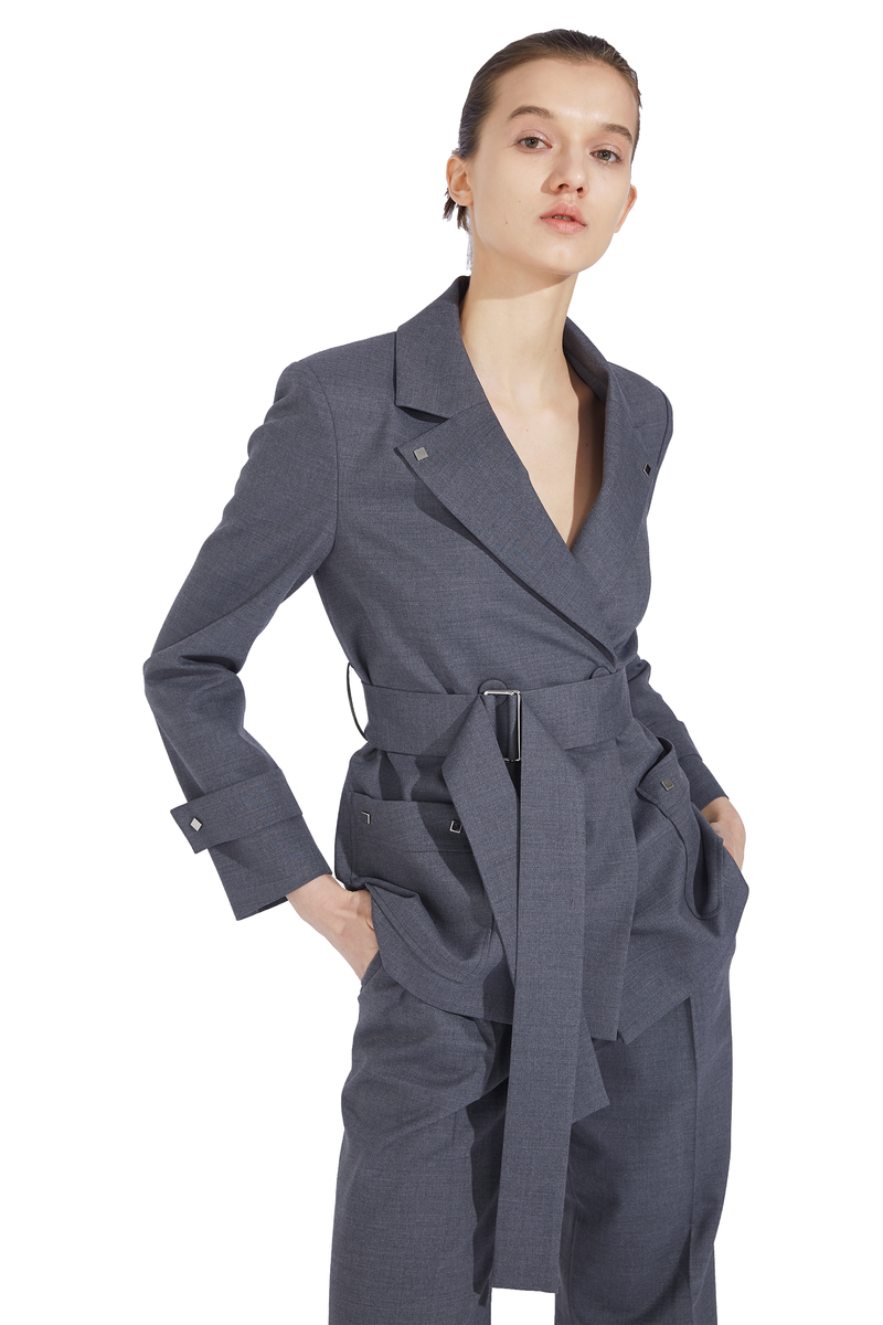 Belted Double Patch Pocket Blazer - Gray