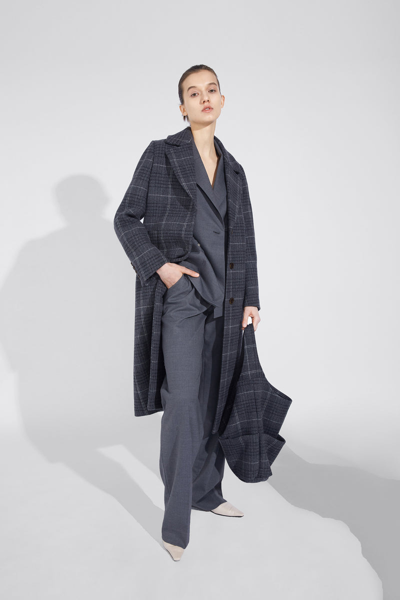 Large-Lapel Classic Coat - Gray Plaid