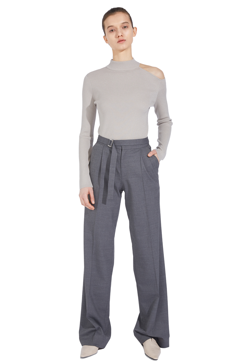 Thin Waistband Straight Trousers - Gray
