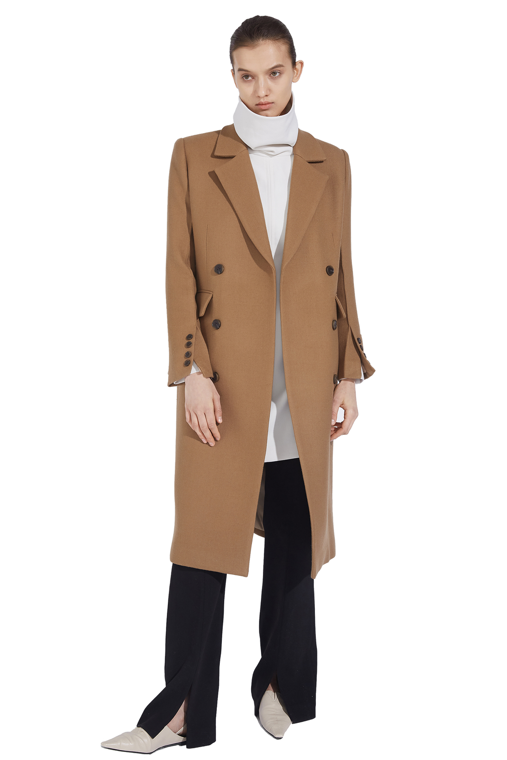 Button Sleeve Notched Lapel Double-Breasted Wool Trench Coat - Khaki