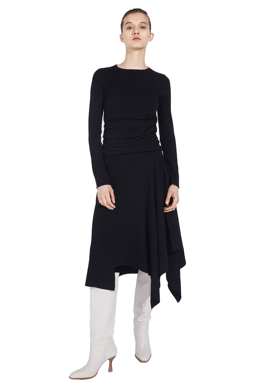 Asymmetrical Stitching Knit Skirt
