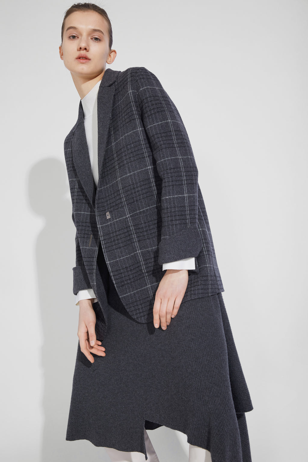 Blazer-Collar Double-Sided Wool Casual Jacket - Gray