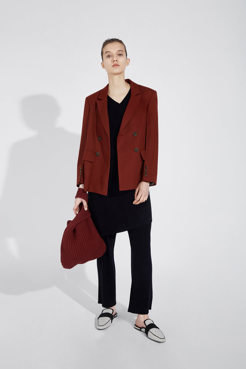 Three-Dimensional Sleeve Blazer - Red