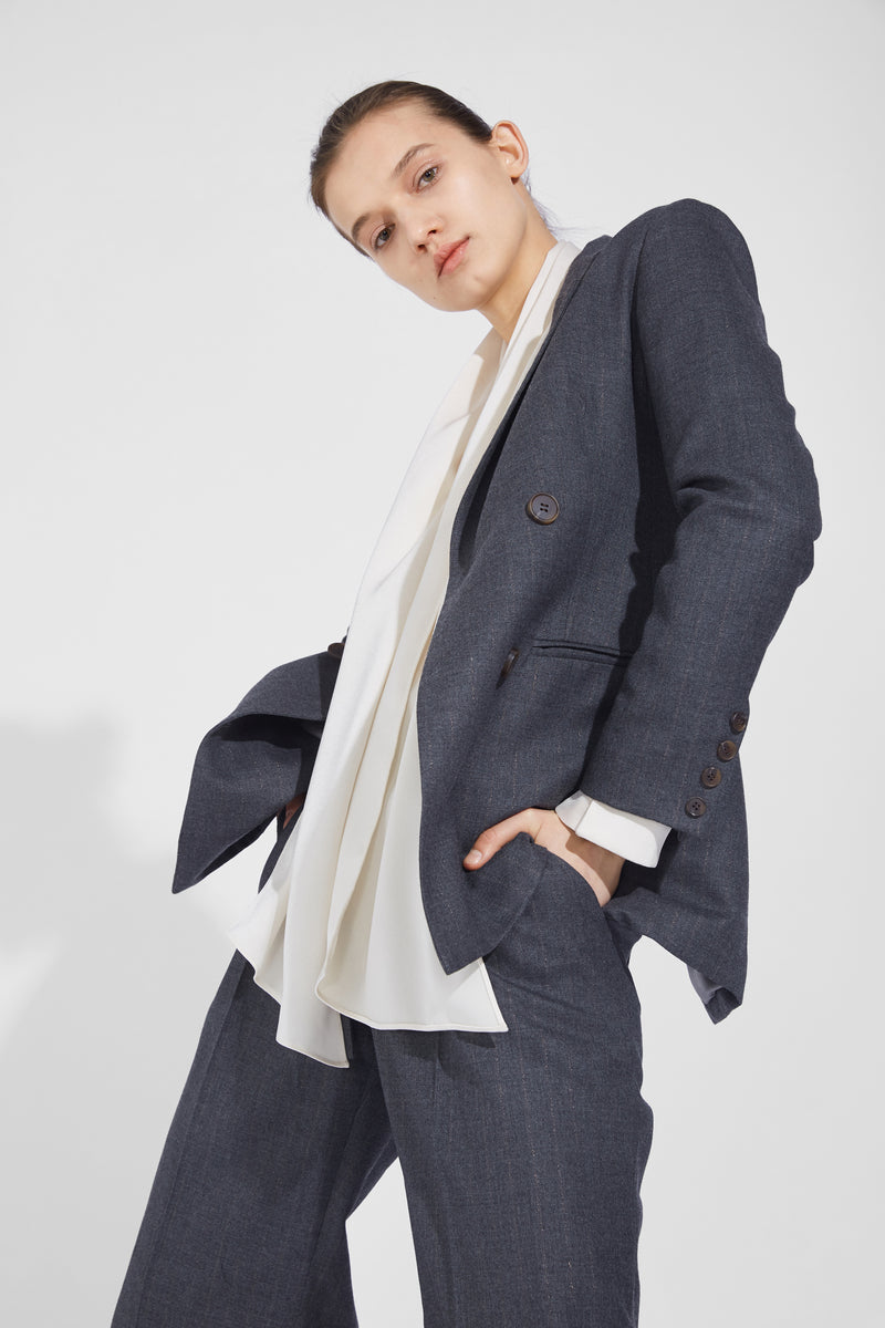 Watkins Vertical Double-Breasted Blazer - Gray