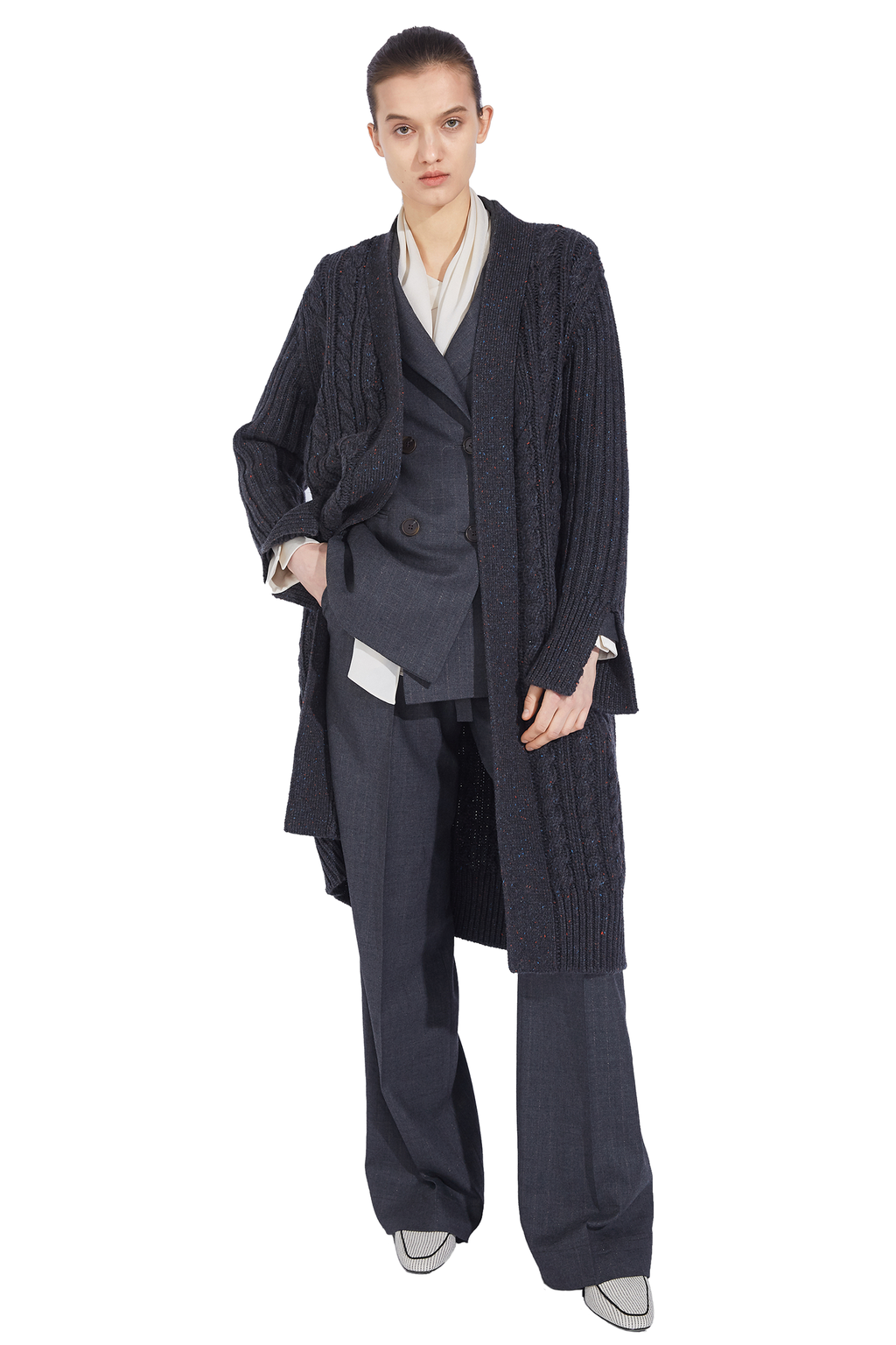 Hemp Pattern Long Cardigan - Black