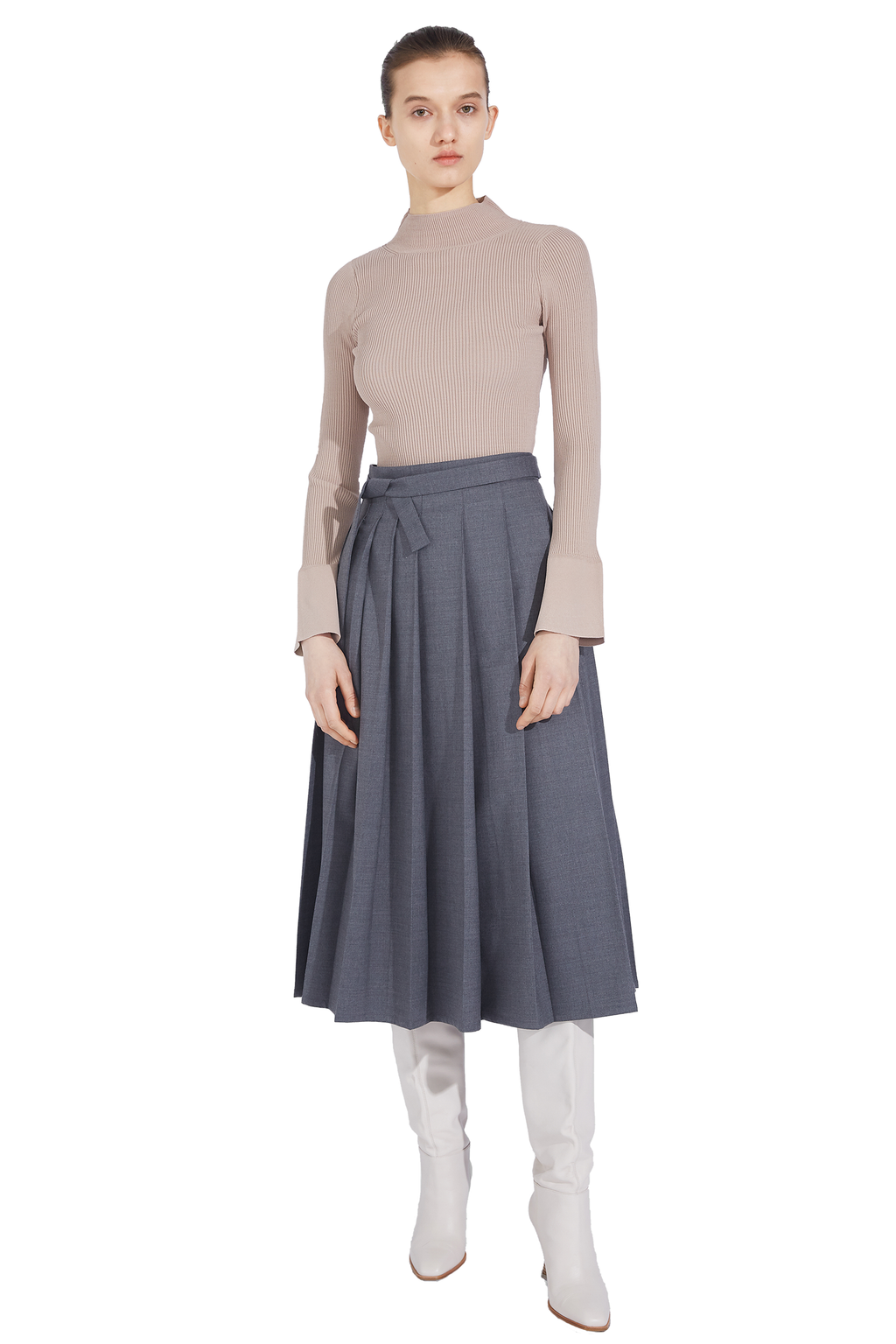 Asymmetrical Pleated Skirt - Gray
