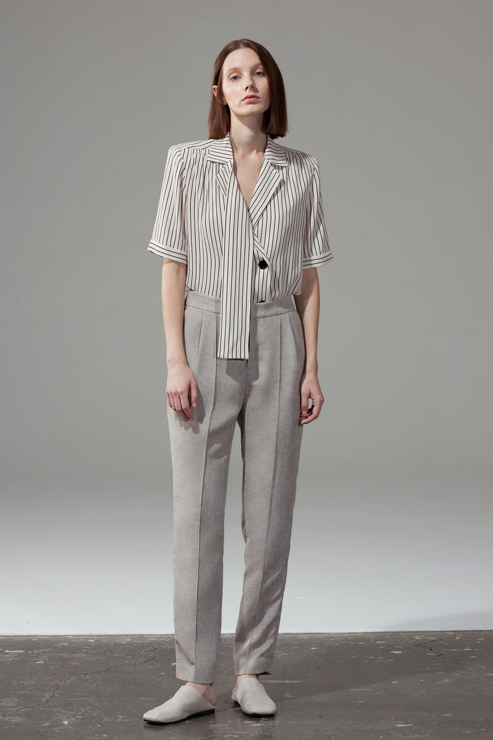 Beige Pleated Harem Pants