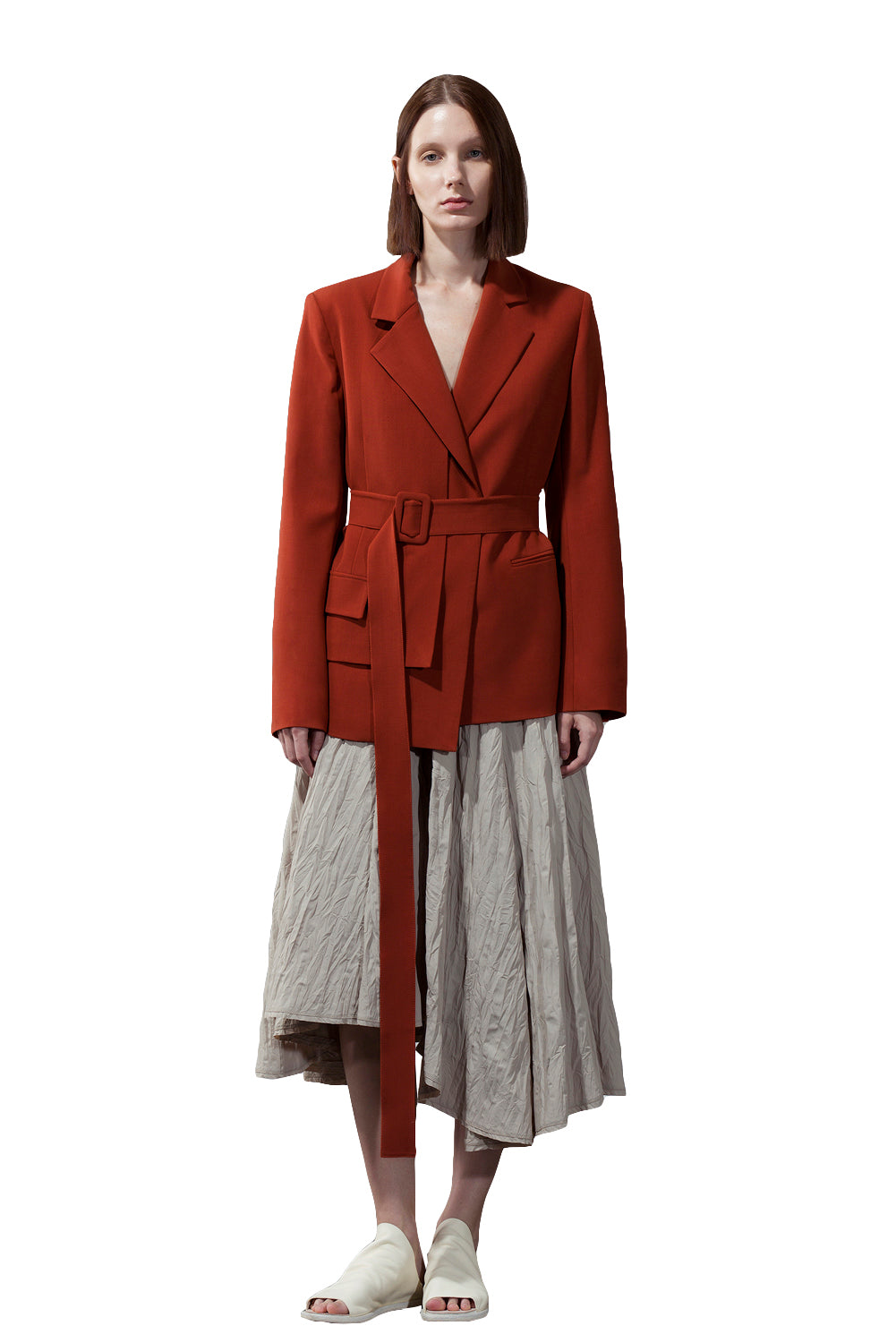 Asymmetric Front Straight Blazer - Red