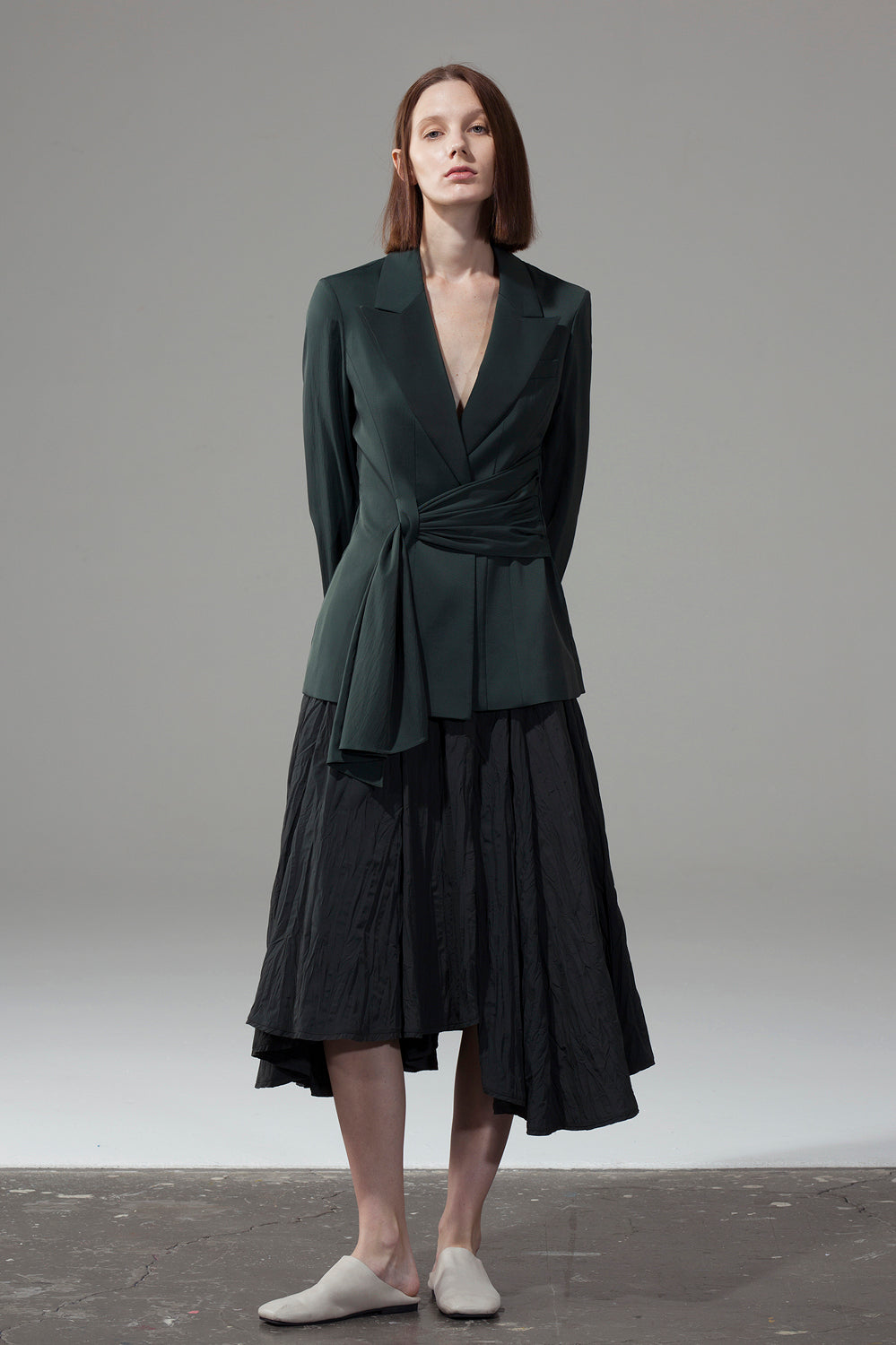Asymmetric Pleated Skirt - Green