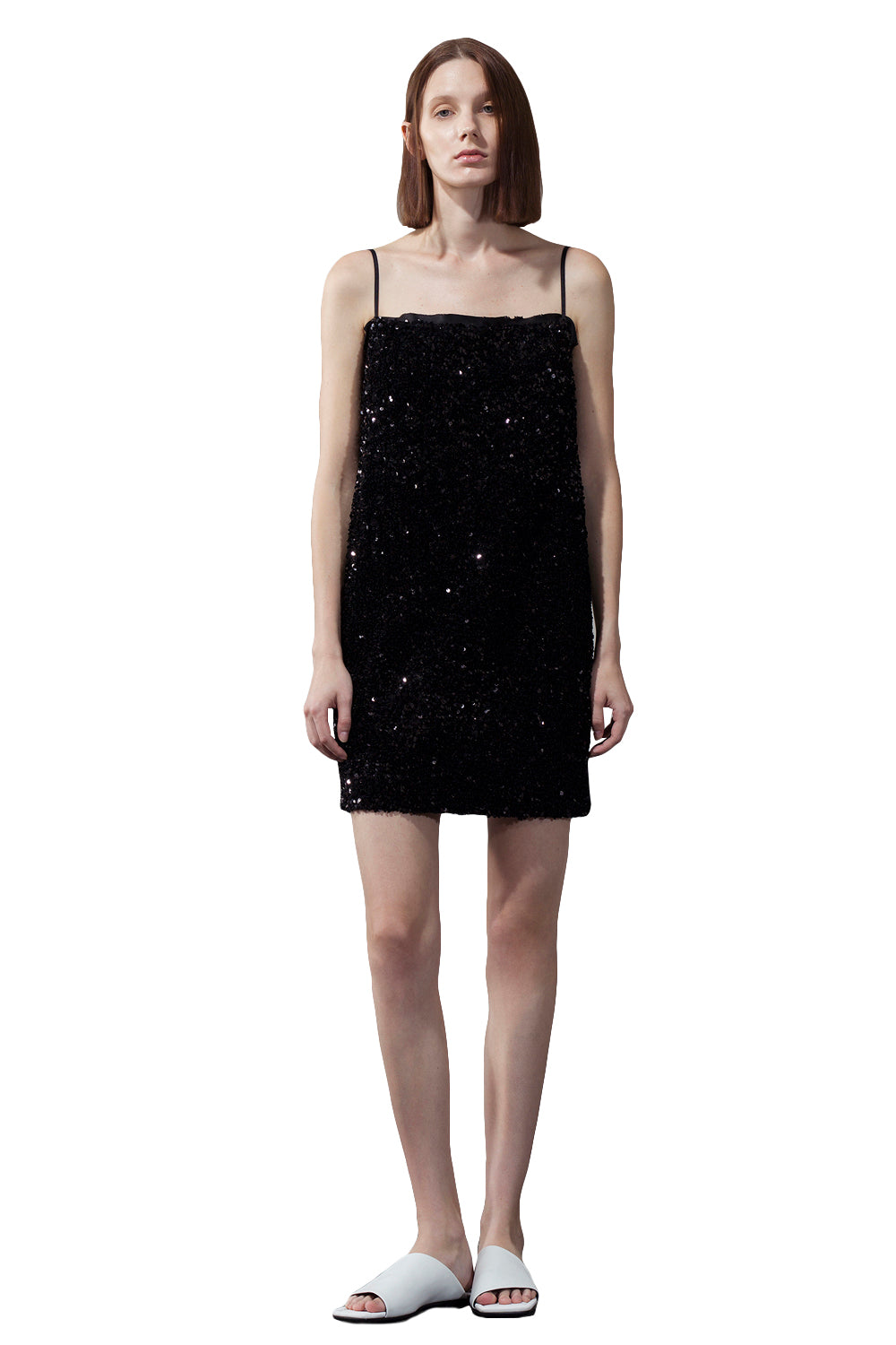 Black Sequin Bandeau Sling Dress