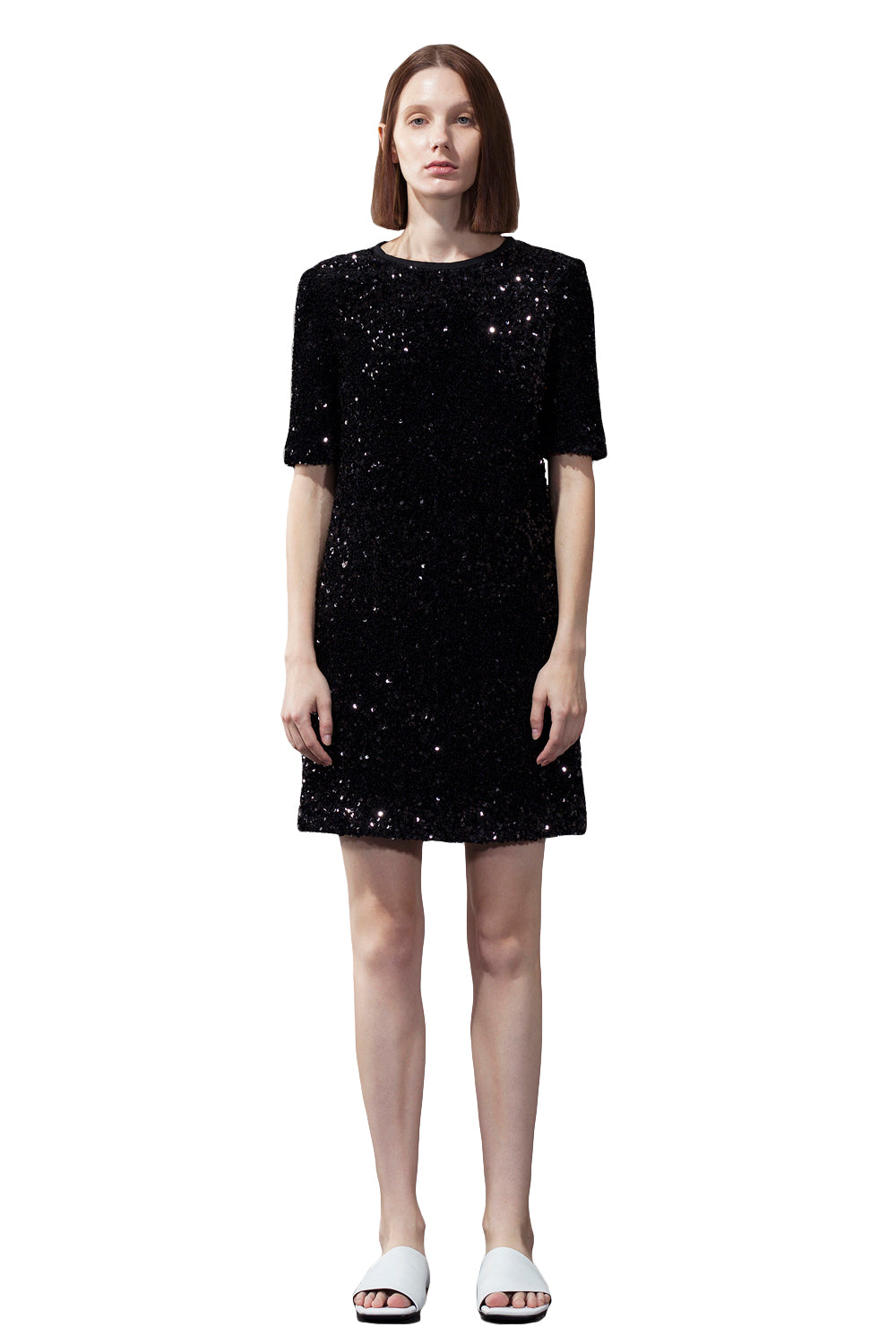 Black Sequin Round Neck Dress