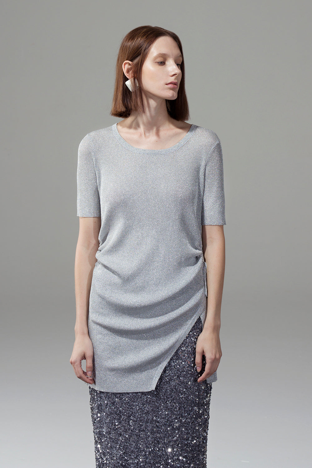 One-Slit Drawstring Knit Dress - Silver